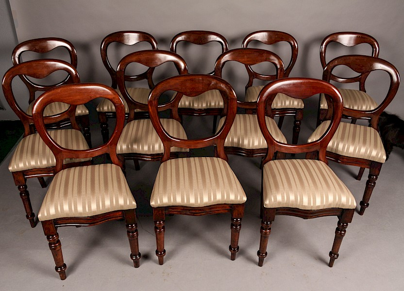 Set of 12 Victorian Mahogany Balloon Back Dining Chairs