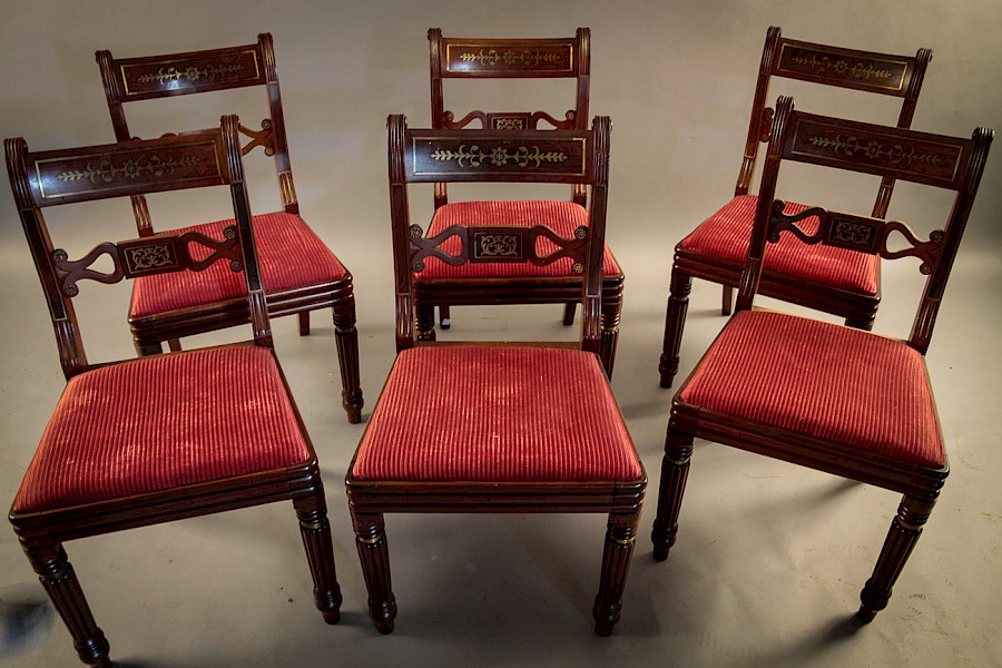 Fine Set of 6 Regency Brass Inlaid Dining Chairs