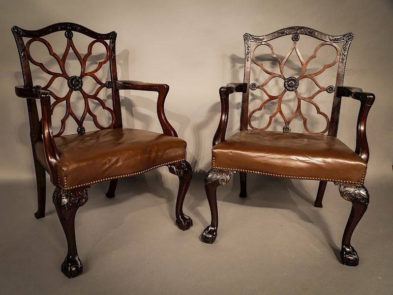 Pair of  Victorian Armchairs Chippendale Style