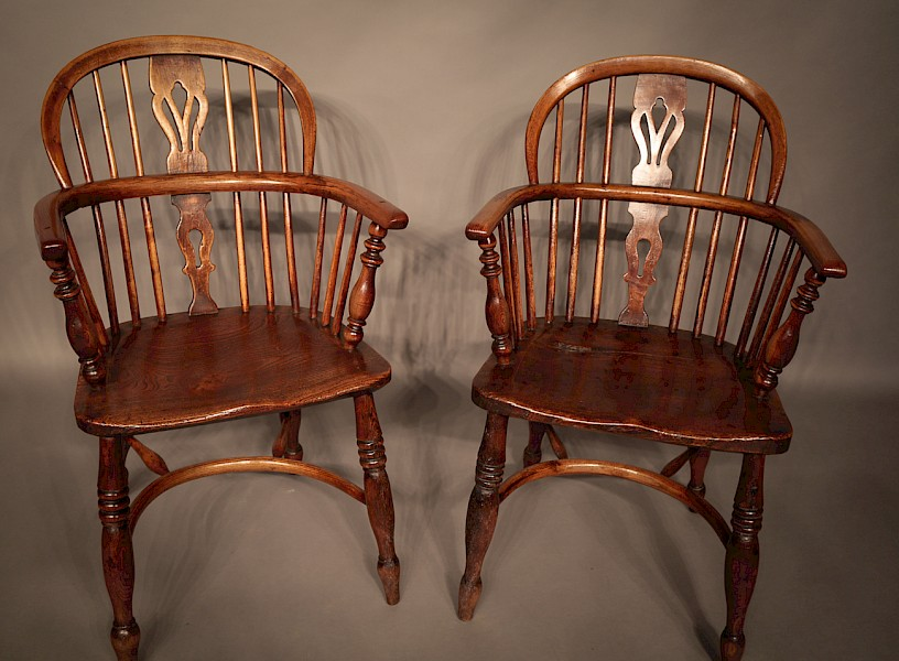 Pair of Ash and Elm Low Windsors Rockley Maker