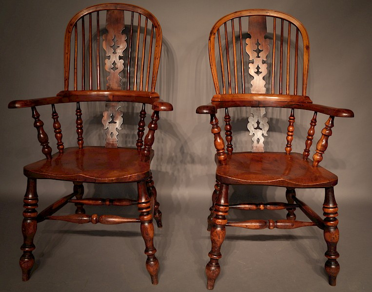 Rare Historically Important Yew Wood Windsor Chairs