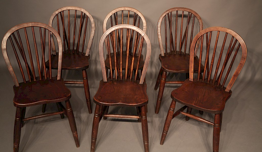A Set of 6 Victorian Windsor Kitchen Chairs