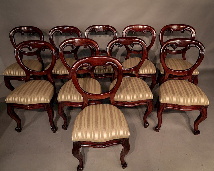 Set of 10 Victorian Balloon Back Dining Chairs