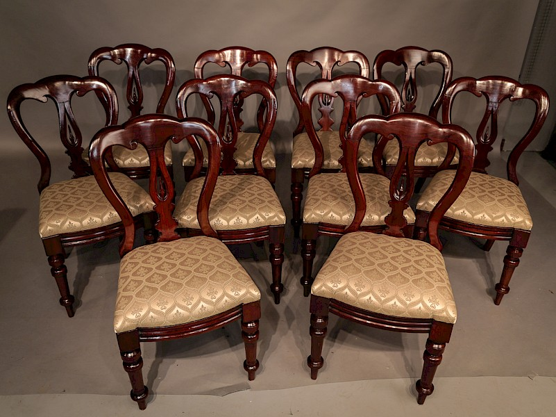 Set of 10 Victorian Spear Point Balloon Back Dining Chairs