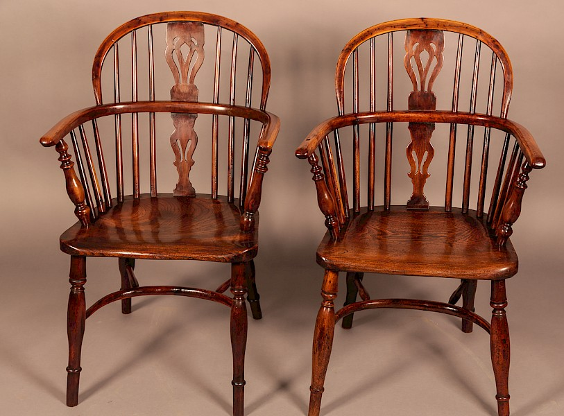 Matching Pair of Yew Wood Windsor Chairs by Nicholson of Rockley