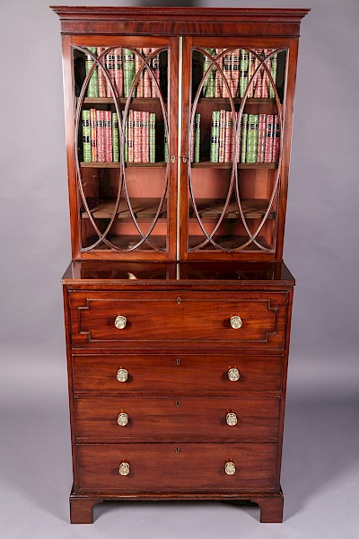 Georgian Library Bookcase with Secretair