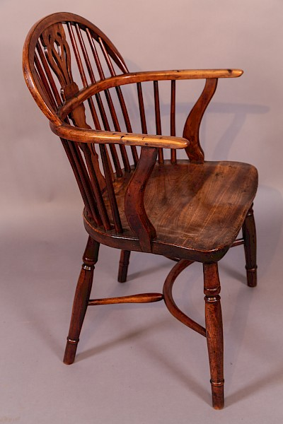 Antique Yew Wood Windsor Chair William Wheatland