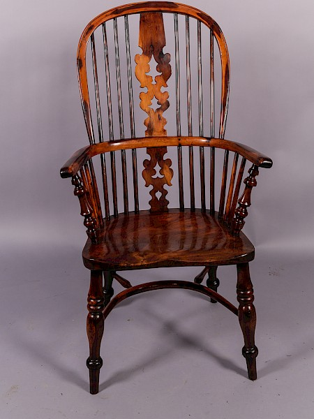 A Yew Wood High Back Windsor Armchair