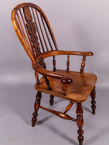 Yew Wood Broad Arm Windsor Armchair