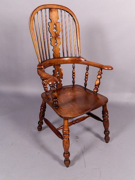 Yew Wood Broad Arm Windsor Chair