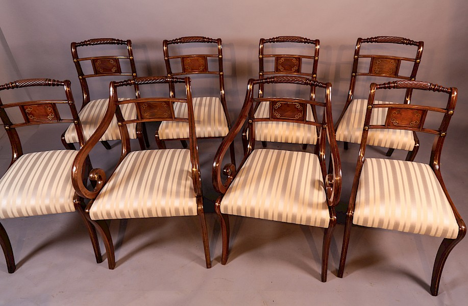 Superb Set of 8 Regency Brass Inlaid Dining Chairs