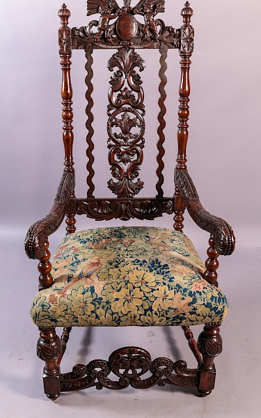 Super carved Throne Chair interesting Pediment