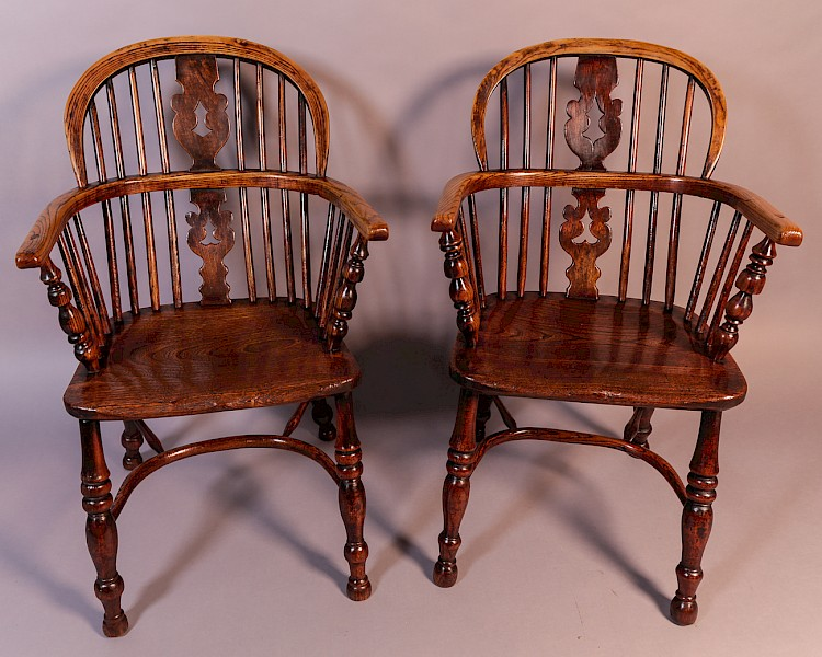 Matching Pair of Ash and Elm Windsor Chairs