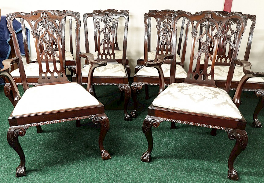 Superb Set of Ten Chippendale Style Dining Chairs