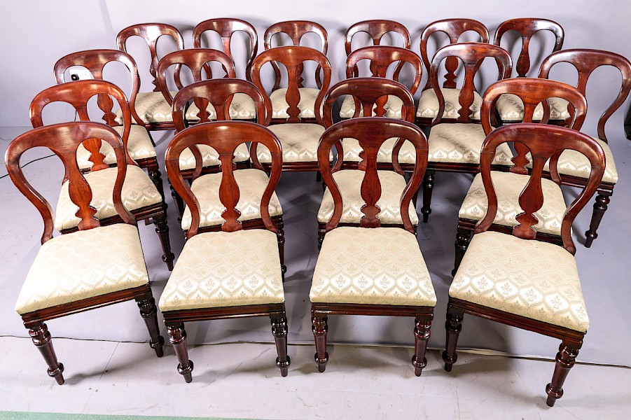 Rare Set of 20 Victorian Balloon Back Dining Chairs