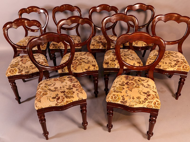 A Good Set of 10 Victorian Mahogany Balloon Back Dining Chairs