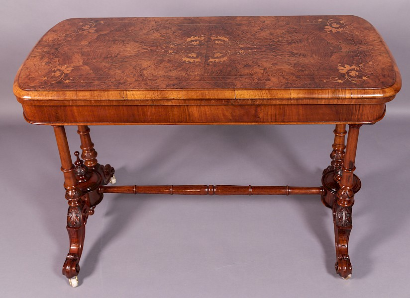 Victorian Inlaid Burr Walnut Games Table