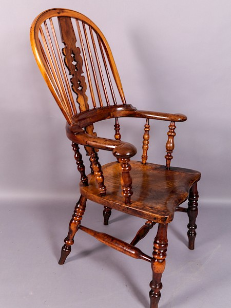 Yew Wood Broad Arm Windsor Chair Worksop Maker