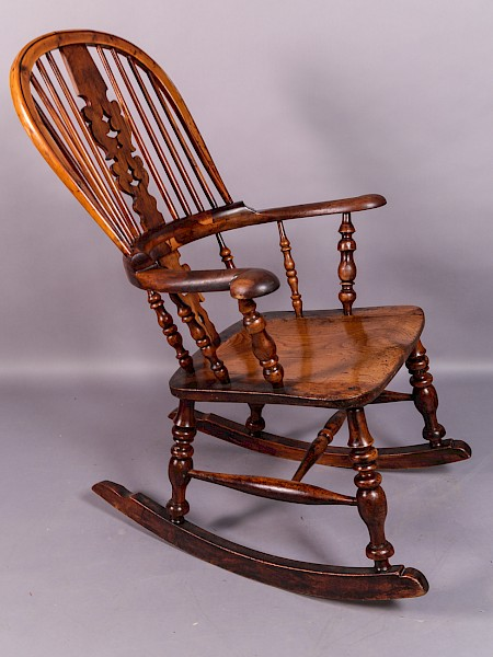 A Yew Wood Broad Arm Rocking Chair Worksop Maker