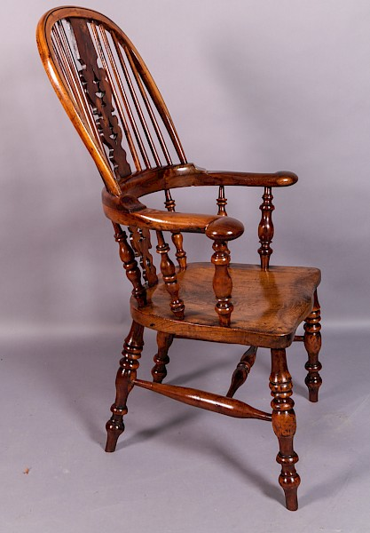 Yew Wood Broad Arm Windsor Chair Worksop