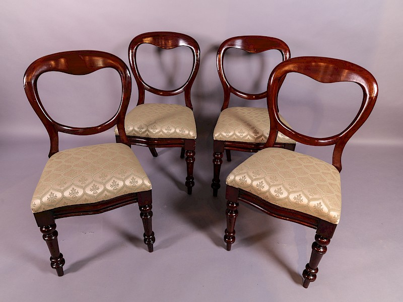 A Set of 4 Victorian Mahogany Balloon Back Dining Chairs