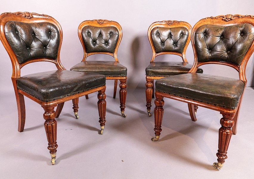 A Set of 4 Early Victorian Oak Dining Chairs