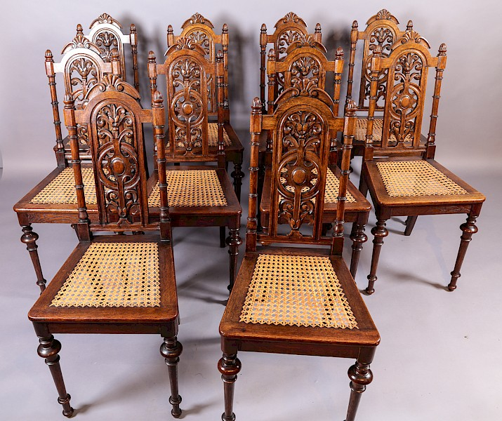 Rare Set of 10 late 19th century Dining Chairs