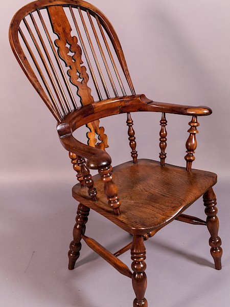 A Good Worksop Broad Arm Windsor Chair in Yew Wood