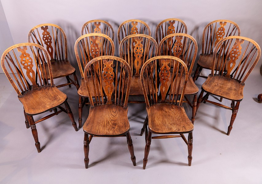 A Rare Set of 12 Kitchen Dining Chairs Ash and Elm