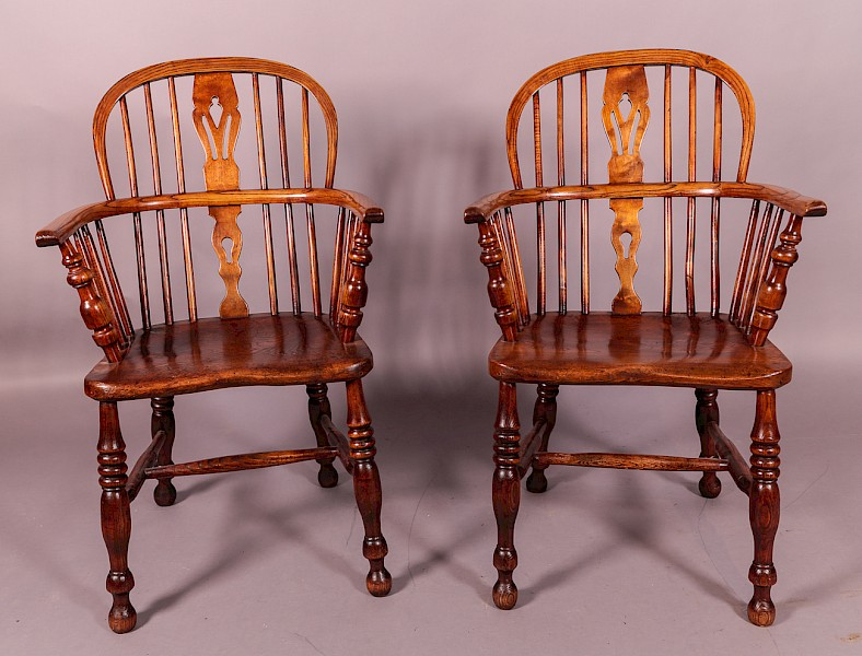 A Pair of Low Back Windsor Chairs