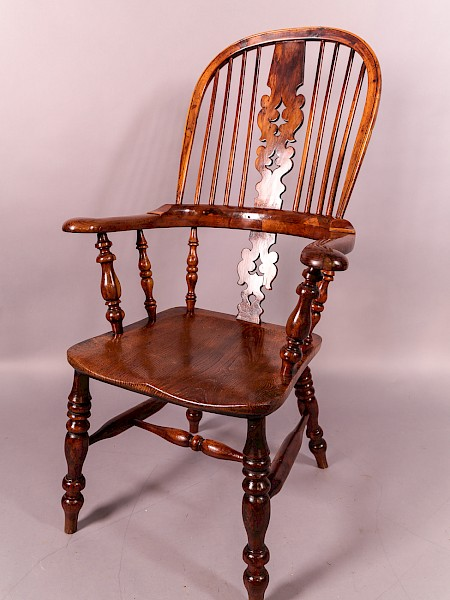 Victorian Yew wood broad Arm Windsor Chair