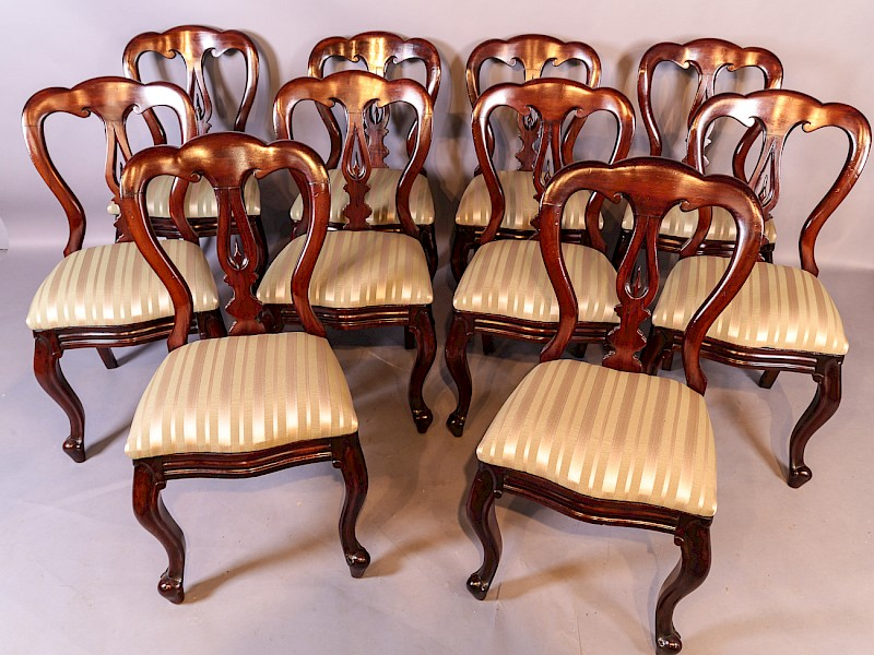 A Set of 10 Victorian Spear Point Balloon Back Dining Chairs