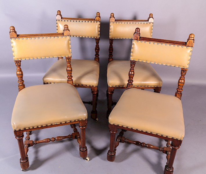 A Set of 4 Victorian Gothic Dining Chairs