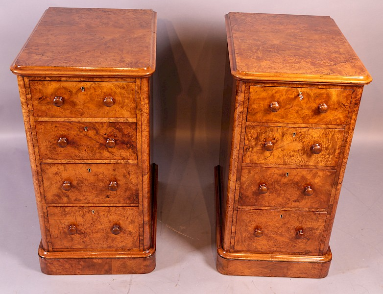 Superb Pair of Victorian Burr Walnut Bedside Chests