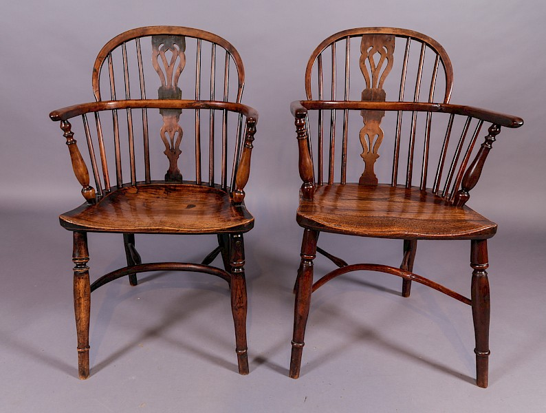 A Pair of William Wheatland Retford Windsor Chairs in Yew