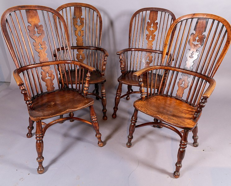A Set of 4 19th century Ash and Elm Windsor chairs