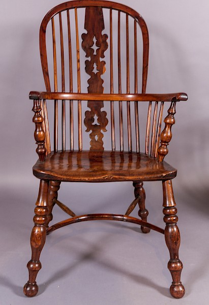 A Fine 19th century Yew wood High Back Windsor Chair Worksop Maker Allsop