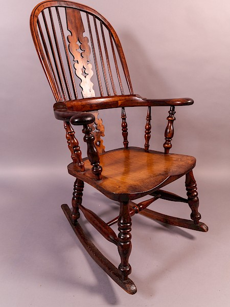 Yew Wood Broad Arm Rocking Chair Worksop