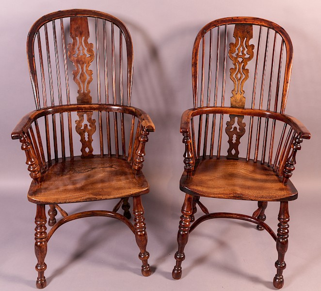 A Pair of Gabbitass Yew Wood High Windsor Chairs