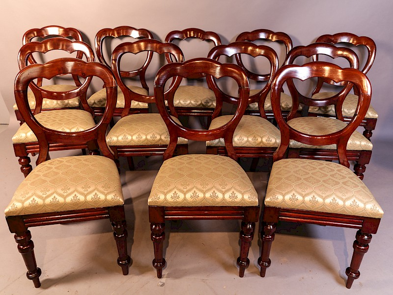 A Good Set of 12 Victorian Mahogany Balloon Back dining Chairs