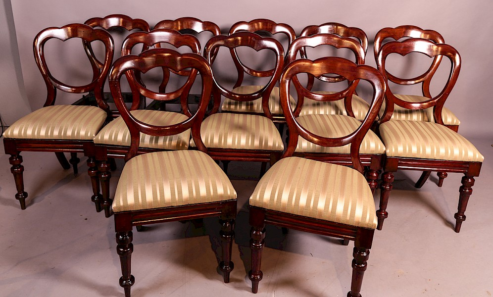 A Set of 10 Victorian Mahogany Balloon Back Dining Chairs