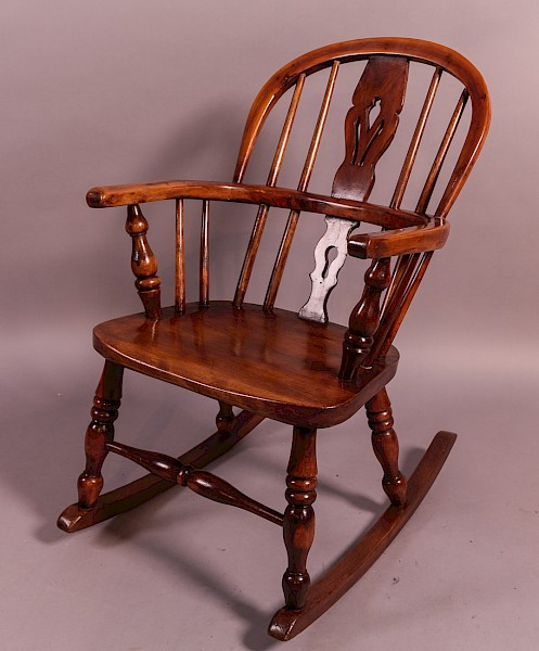 Childs Yew Wood Windsor Rocking Chair