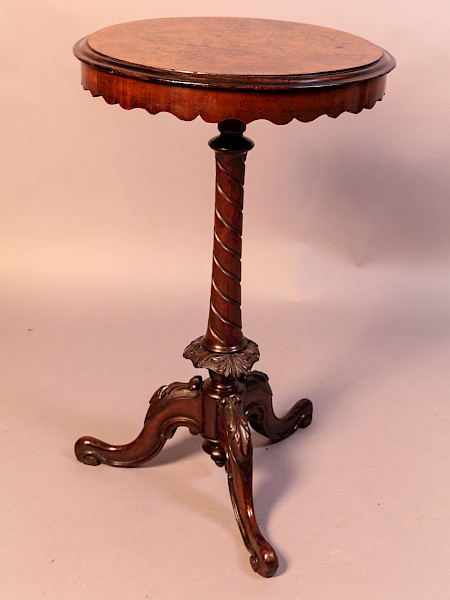 Victorian Wine Table Yew Wood Top