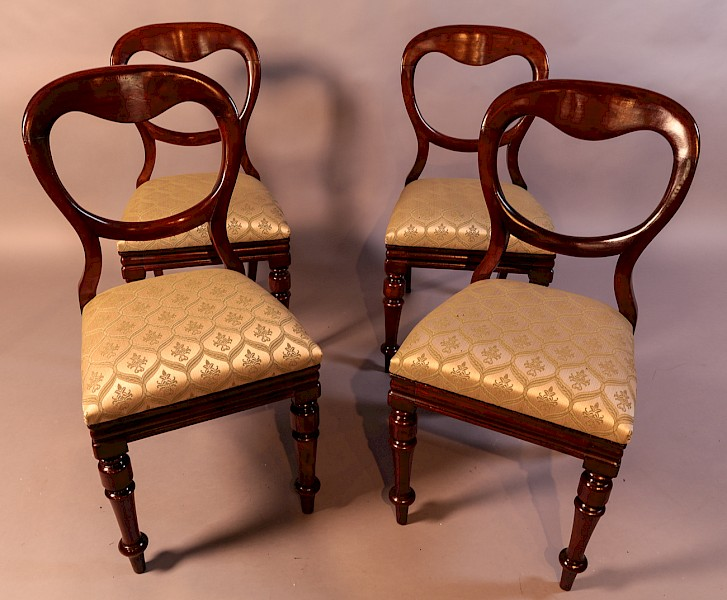 A Set of 4 Victorian Balloon Back Dining Chairs