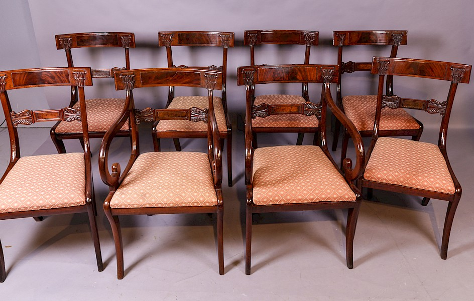 A Good Set of 8 Regency Bar Back Dining Chairs