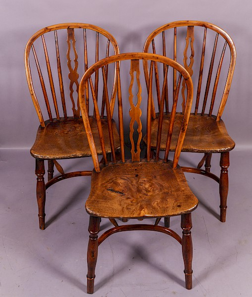 Rare set of 3 Marsh of Sleaford Yew Wood Chairs