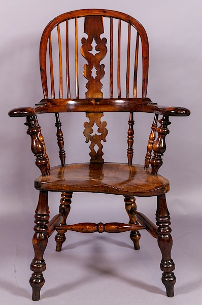 Good Yew Wood Broad Arm Windsor Chair