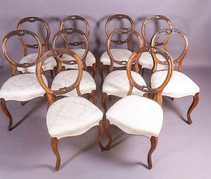 Set of 10 Victorian Walnut Dining Chairs
