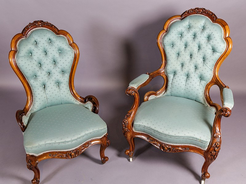 Pair of Victorian Walnut Ladies and Gents Chairs
