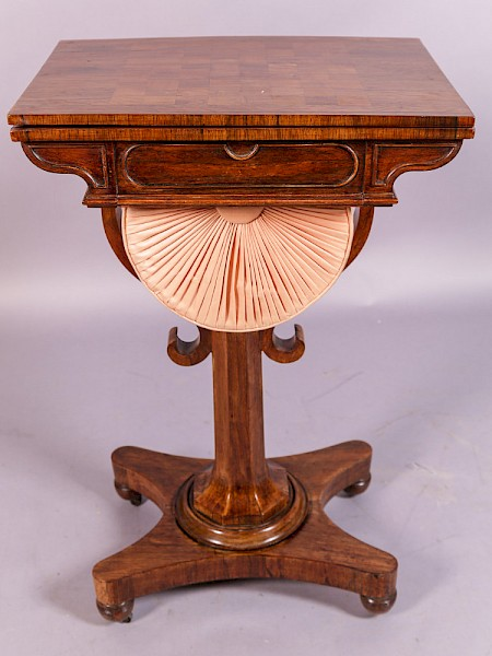 William IV Games /Sewing Table in Rosewood